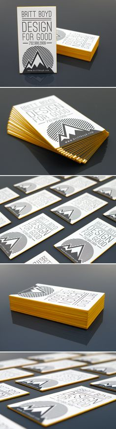 Design For Good letterpress namecards. 236lb 100% cotton paper w/ yellow edge print.