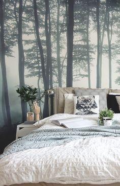 Forest Bedroom, Woodland Bedroom, Bedroom Wallpaper Forest, Forest Theme Bedrooms, Woodland Living Room, Bedroom Themes, Home Decor Bedroom, Bedroom Interiors, Bedroom Ideas