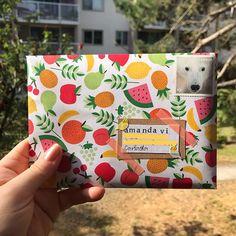 Fruit theme envelope - Mail art ideas for pen pal Pen Pal Letters, Cute Letters, Aesthetic Letters, Snail Mail Pen Pals, Snail Mail Gifts, Cadeau Parents, Mail Art Envelopes, Art Postal, Envelope Art