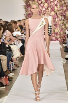 Calling all brooch lovers! This chic dusty pink frock is perfect for a statement piece. Oscar de la Renta Spring 2015 RTW. #nyfw #OscardelaRenta #spring2015