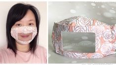 Imagine living in a world where you can't hear anything or listen to someone speak. This Smile Mask design has a clear window that al. Clear Face Mask, Easy Face Masks, Homemade Face Masks, Diy Face Mask, Sewing Hacks, Sewing Tutorials, Sewing Projects, Mascara 3d, Diy Mask
