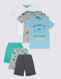 M/&S Kids Boys Shorts /& T.Shirt Cotton Pyjama/'s PJ/'s Set x 2 New!