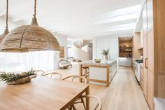 From Australian Coastal to the Mediterranean - a gorgeous kitchen and dining room in Kyal Kyal And Kara, Interior Color Schemes, Colour Schemes, Surf House, Diy Blinds, Curved Staircase, Contemporary Kitchen Design, Curtain Designs, Open Plan Kitchen