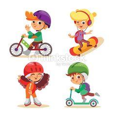 벡터 아트 : Little kids with various summer activities.