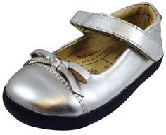Old Soles Girl's Sista Flat Silver Leather with Black Sole Hook and Loop Mary Jane Flats