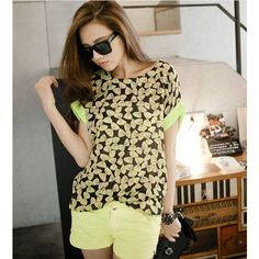 Buy Stylish Bowknot Printing Hemming Cuff T-Shirt Yellow with cheapest... via Polyvore