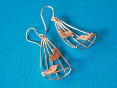Flower earrings Leaf earrings fern earrings by SilverTemptation