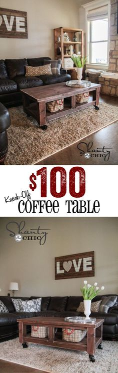 Coffee Table with Storage Baskets | Pottery Barn Knock Off by DIY Ready at http://diyready.com/diy-projects-pottery-barn-hacks