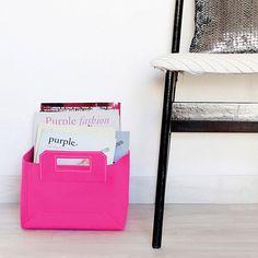 Soft Felt Storage Bin Toy Storage Neon Pink di hooknloopdesign, $24.00