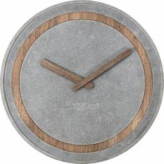 """The NeXtime """"Concreto"""" is a wall clock designed by Jette Scheib. The combination of the materials wood and poly resin creates an interesting and. Blockout Blinds, Retro Clock, Wall Clock Online, London Clock, Wall Clock Design, Striped Walls, Wood Clocks, Diy Wall Decor, Home Decor"""