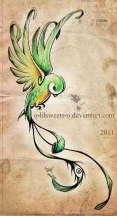 Quetzal Bird, but red instead of yellow#Guatemalan<3