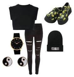 """""""All black everything """" by shamelesslymaya on Polyvore featuring River Island, adidas Originals, Larsson & Jennings and Accessorize"""