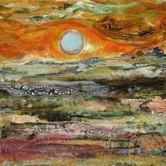 "Contemporary Landscape Artists International: Mixed Media Abstract Painting ""Sunset"" by Santa Fe Contemporary Artist Sandra Duran Wilson Contemporary Abstract Art, Contemporary Landscape, Landscape Art, Contemporary Artists, Contemporary Design, Wilson Art, Art Textile, Southwest Art, Western Art"