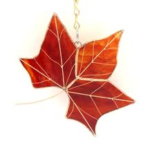 Fall Maple Leaf Suncatcher Stained Glass Handmade Red Gold