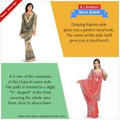 "‪#‎SareeSchool‬ Draping ‪#‎Rajrani‬ style gives you a perfect royal look. The name of this style itself gives you a royal touch. It is one of the variations of the Gujarati saree style. The pallu is formed in a slight ""V-shaped"" at the front covering the whole area from chest to above knee. Follow these steps in order to drape rajrani steps: a) Take one end of the saree and tuck it nicely around the waist from right to left. To know about draping steps Visit - https://goo.gl/3zL0my"