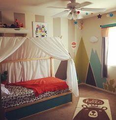 T's new tent bed (Ikea Kura hack).