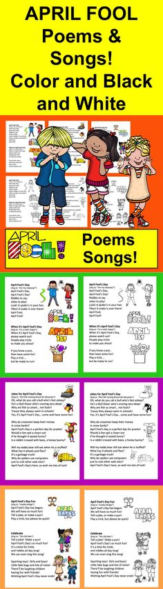 April Fool's Day Songs and Poems! Use for April Fool's Day shared reading or fluency.  Celebrate April Fool's Day with these 5 songs and poems...  ★ Full Color and Black and White.