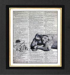 "Elephant Print ""The Story Teller "" Boy ORIGINAL ARTWORK Mixed Media  print on 8x10 Vintage Dictionary page, Dictionary art, Dictionary print"