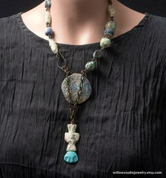 boho assemblage  clay leather ancient glass by WillowStudioJewelry