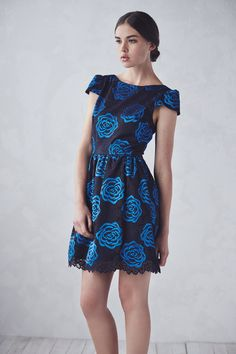 This Alice and Olivia black and blue floral lace dress is so dreamy.