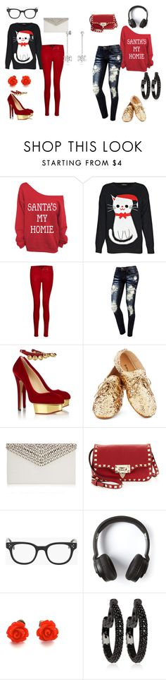 """""""Girly vs. Tomboy: Christmas sweater"""" by mrsstyles814 ❤ liked on Polyvore featuring Boohoo, J Brand, Charlotte Olympia, Jimmy Choo, Valentino, Oliver Peoples, Nixon and Matthew Campbell Laurenza"""