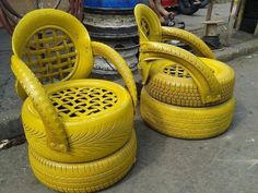 Create crafts from old tires for the garden