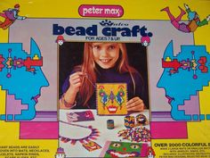 RARE PETER MAX BEAD CRAFT 1972 7 &UP WALCO #10616 COLORFUL BOX