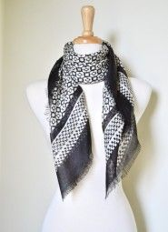 Beautiful black and white scarf to complement many of your outfits all year long.  Wear to the office with your suit and easily transition into dinner while looking fabulous.  $12.99 Use code PINIT at checkout for 10% off your entire order.