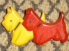 Red and yellow Scotties brooch