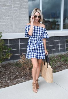 Summer to fall dress, checked plaid dress with ruffle, off the shoulder, lace up heels, aviators, tiaras and heels fashion