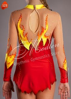 The rhythmic gymnastics leotard is made of stretch lycra, transparent mesh, decorated by paillettes (spangles).  The handmade leotard is made of red & yellow stretch lycra, transparent mesh, decorated by paillettes, painted by paint. To make your leotard bright and attractive, we recommend choose from 1000 basic crystals, but you also can choose Swarovski crystals for your dress.  The leotard could be sewn on your choose for such kind of sports like Rhythmic Gymnastics Leotard, Ice Figure…