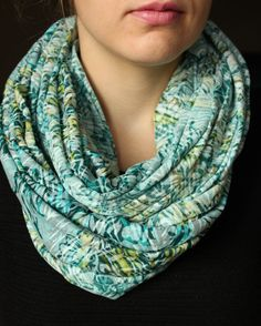 Burnout Knit Turquoise & Yellow Circle Scarf  Loose by slyscarves, $25.00