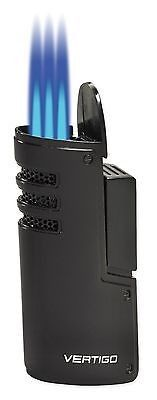 NEW VERTIGO BY LOTUS - MUSTANG TRIPLE TORCH CIGAR LIGHTER-BLACK MATTEMATTE