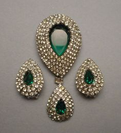 1950's Kramer NY Emerald Green & Rhinestone Pave Teardrop Brooch & Earrings Set #KramerNY