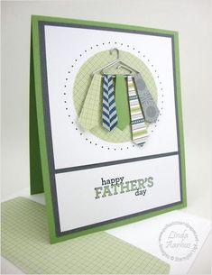 "Love this spin on the traditional ""tie"" card for dad - putting the ties on a hanger for this handmade Father's Day Card."