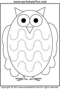 Curved Line Tracing – Owl – 1 Worksheet