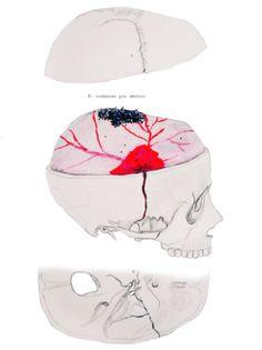 II. conhecer por dentro. Cranio.Grafite, canetinha, giz aquarelável, glitter.