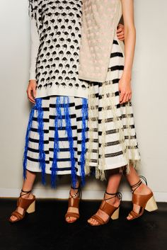 fringe & stripes -- Backstage at Thakoon #style #fashion