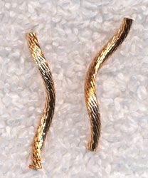 Gold Plated Striped Curvy Noodle Beads (20) - Silver Enchantments