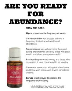 #YoungLiving #Abundance - Are you ready for Abundance? Find out about the Law of Attraction and how you can use this oil to attract Abundance into your life at www.sherryaphillips.com