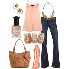 pretty in peach, created by htotheb.polyvore.com