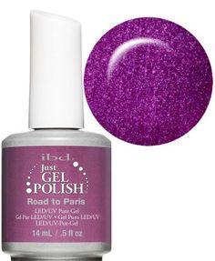 Ibd Just Gel Soak Off Led Uv Nail Polish Road To Paris Purple Glitter 14ml
