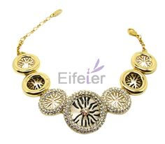 Delicate fresh style bracelets with special round pattern & decorated with shiny stones