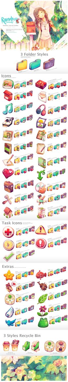 These folder icons are by Raindropmemory.    I love the soft look of these icons...I wish they could be used for the mac as well.