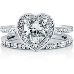 BERRICLE Sterling Silver 1.47 ct.tw Heart Shaped CZ Halo Engagement... ($105) ❤ liked on Polyvore featuring jewelry, rings, 2 piece ring set, clear, sterling silver, women's accessories, stackable rings, sterling silver cubic zirconia rings, heart ring and sterling silver heart ring