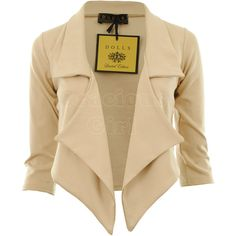 Jaliyah New Womens Waterfall Blazer 3/4 Sleeve Ponte Ladies Blazer... ❤ liked on Polyvore featuring outerwear, jackets, blazers, tops, casacos, 3/4 sleeve blazer, three quarter sleeve jacket, blazer jacket, ponte blazer and ponte knit blazer