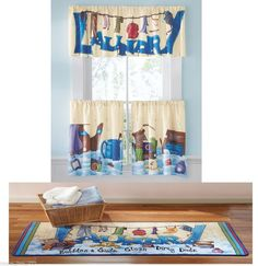 New Laundry Room Window Curtains Valance Rug Set Whimiscal Clothes Line Art Any