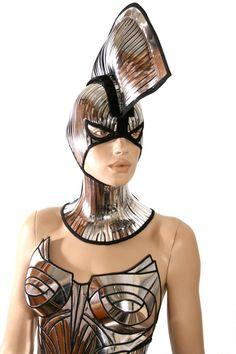 spartan warrior mask and mohawk warrior headpiece armor sci fi  futuristic steampunk cyber headdress cybergoth