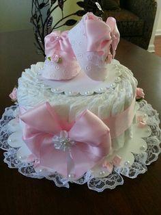 windeltorte basteln anleitung babygeschenke geburt zart mädchen