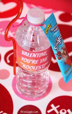 Kool-Aid Valentine with Free Printable Label {BitznGiggles.com} #ValentinesDay, #Printable